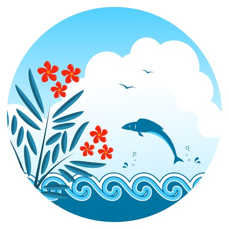 oleander: vector oleander and fish jumping over the waves
