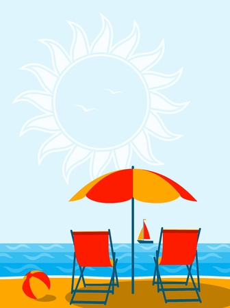 deckchair: vector deck chairs under umbrella on the beach Illustration