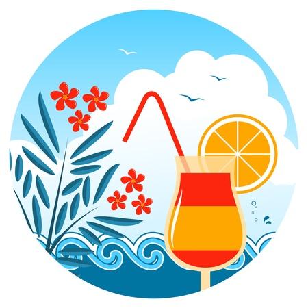 laurier rose: cocktail vecteur sur la plage, les lauriers roses et des vagues Illustration