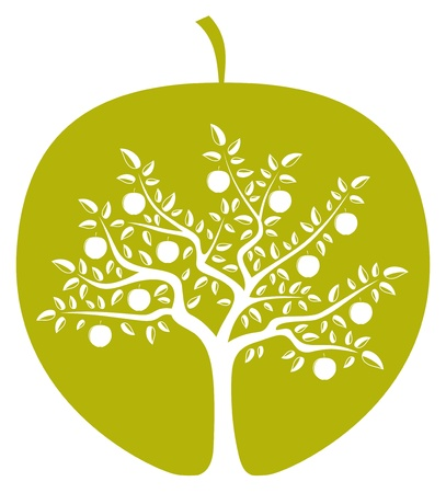 vector apple tree in apple on white background