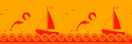 vector seamless border with fish playing with beach ball and sailboat floating on the sea Vector