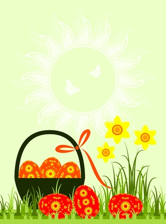 vector easter eggs and daffodils Stock Vector - 13042875