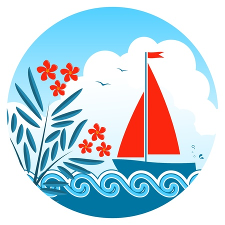 oleander: vector oleander and sailboat floating on the sea