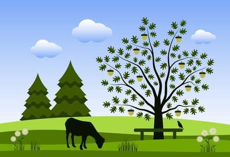 grazing goat and oak tree with bench Vector