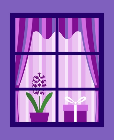 window curtains: hyacinth and gift behind window Illustration