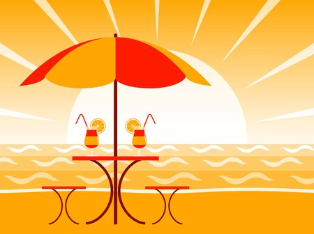 vector cocktails on the beach in sunset Stock Vector - 13388614