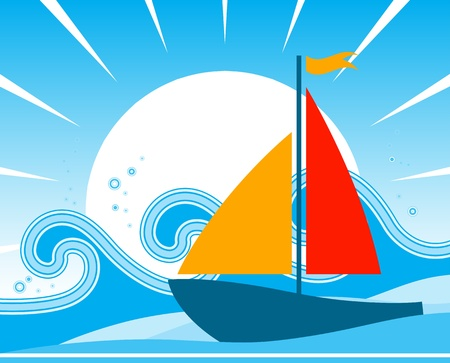 vector sailboat floating on the sea Vector