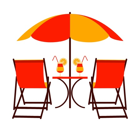 deck chairs under beach umbrella Vector