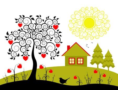 시골집: 마음 나무와 마음 꽃, 벡터 시골 풍경 일러스트