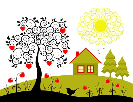 vector rural landscape with heart tree and heart flowers Stock Illustratie