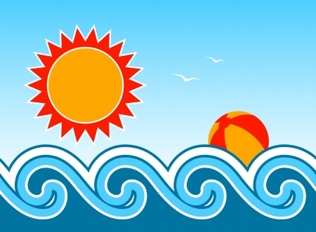 vector waves, sun and beach ball Stock Vector - 14127681