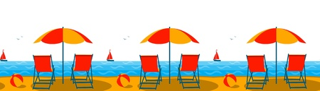 vector seamless border with deck chairs under umbrella on the beach Vector