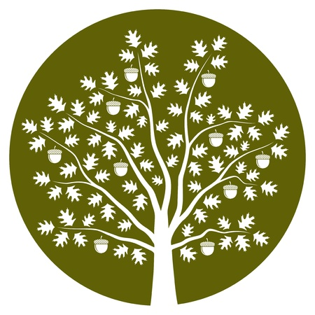 Oak tree on green round Illustration