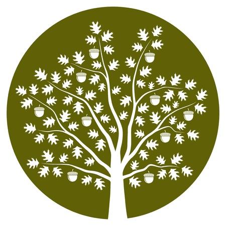 Oak tree on green round Ilustracja