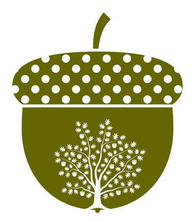 acorn: oak tree in acorn isolated on white background Illustration