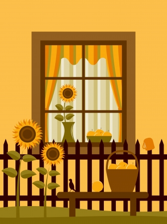 cottage fence:  picket fence with sunflowers  in basket on bench in front of window  Illustration