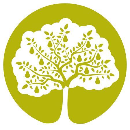 perenboom geïsoleerd op groene ronde
