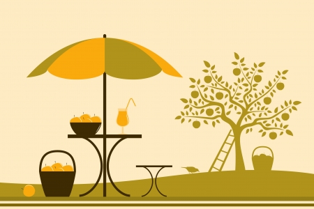vector table with umbrella and apple tree Vector