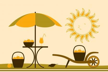 vector table with umbrella and hand barrow with basket of apples Vector