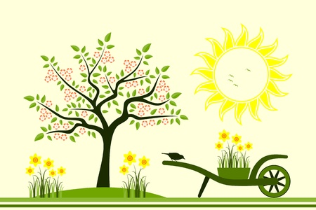 flowering tree and hand barrow with daffodils Vector