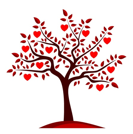 outdoor wedding: vector heart tree isolated on white background Illustration