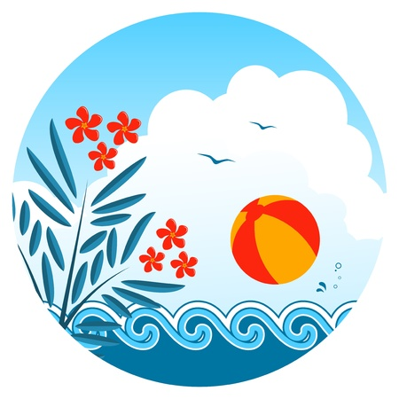 oleander: oleander and beach ball over the waves Illustration