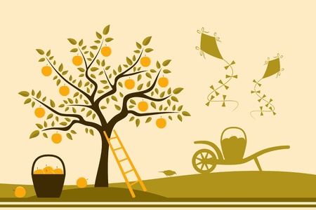 apple tree, hand barrow with basket of apples and kites Vector