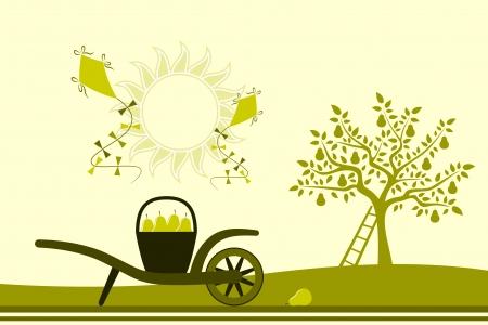 carretilla: vector carretilla de mano con la cesta de peras, peral y cometas