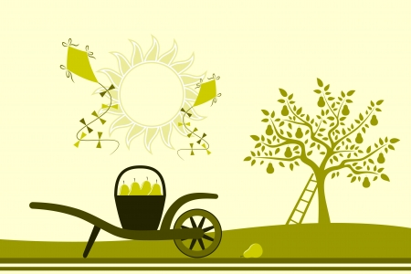 vector hand barrow with basket of pears, pear tree  and kites