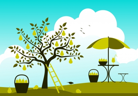 vector pear tree and table with umbrella Vector
