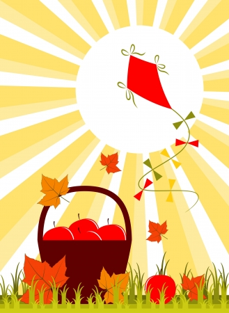 vector basket of apples, fallen leaves and kite Stock Vector - 15491317