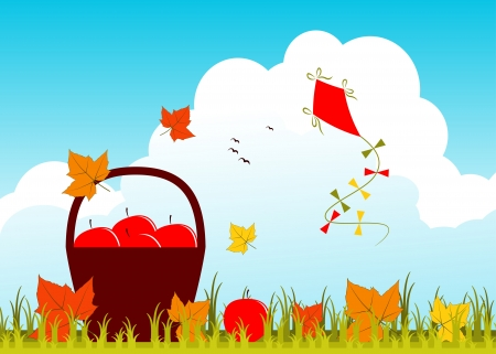 basket of apples, fallen leaves and kite Vector