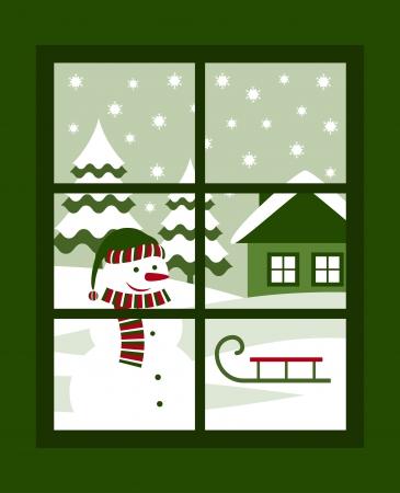 vista ventana: invierno paisaje fuera de la ventana Vectores