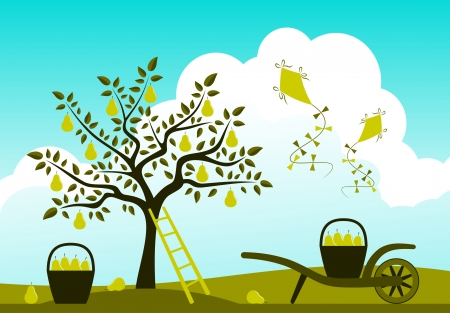 hand barrow with basket of pears, pear tree  and kites Vector