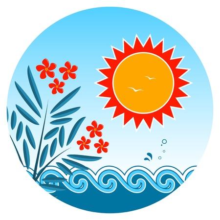 laurier rose: lauriers roses et de coucher du soleil sur les vagues