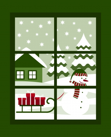 outside the box: vector snowman pulling sledge with gifts outside the window