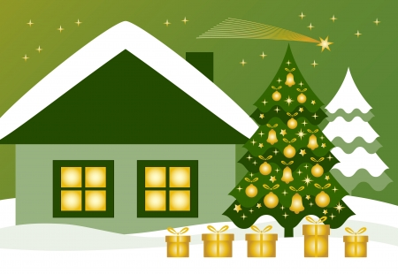 vector christmas tree with gifts, cottage and flying comet Stock Vector - 15586613