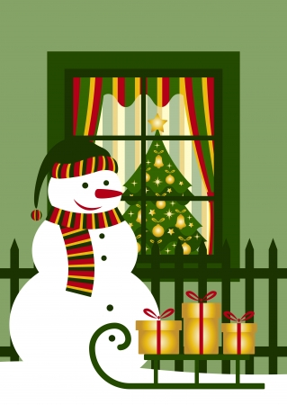 vector snowman and sledge with gifts in front of window Vector