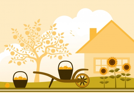 home moving:  hand barrow with basket of apples and sunflowers