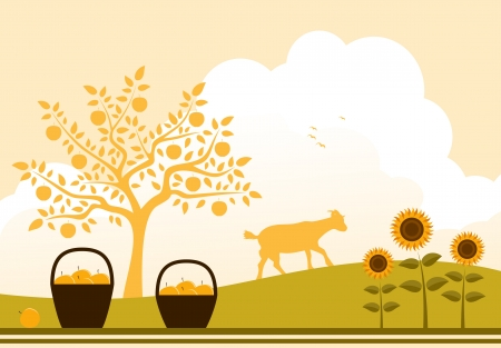 apple tree, baskets of apples, sunflowers and goat Vector