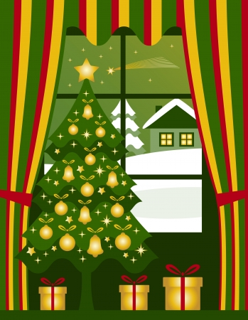 christmas tree and gifts at window Vector