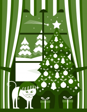 christmas tree with gifts and cat at window Vector