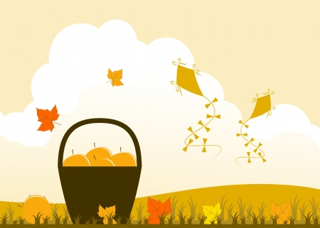vector basket of apples, fallen leaves and kites Vector