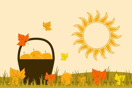 basket of apples, fallen leaves and sun Stock Vector - 15900445