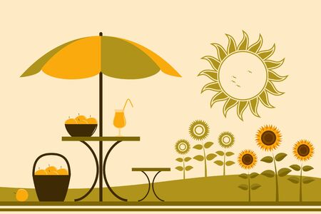 garden chair: table with umbrella and sunflowers Illustration