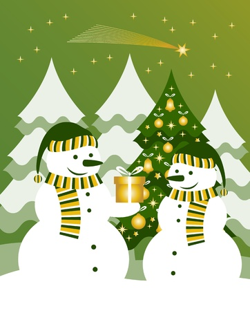 pair of snowmen and gift Vector