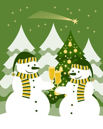 pair of snowmen with glasses of champagne Stock Vector - 15982775