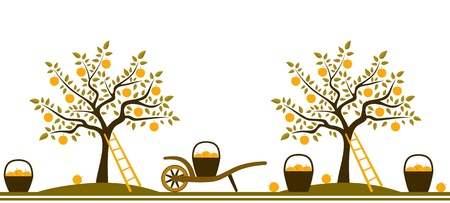 seamless border with apple trees, hand barrows and baskets of apples isolated on white background