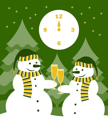 midnight hour: pair of snowmen with glasses of champagne Illustration