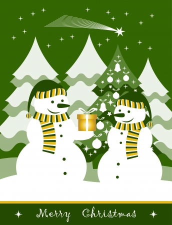 vector pair of snowmen and gift Stock Vector - 16173062